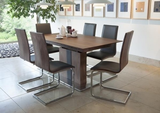 Almara Walnut Extending Dining Table + 6 Chairs | Morale Home With Extending Dining Tables With 6 Chairs (Image 1 of 25)