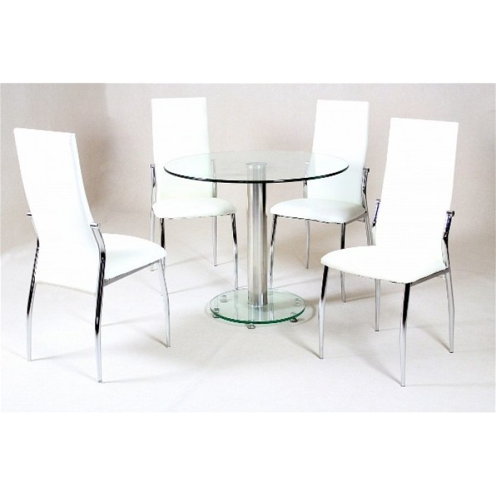 Alonza Clear Dining + 4 Lazio Chairs Intended For Lazio Dining Tables (Image 1 of 25)