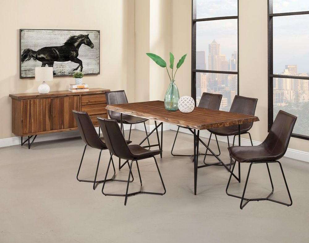 Alpine Furniture Live Edge Collection Rectangular Dining Table Set 8 Regarding Candice Ii 6 Piece Extension Rectangle Dining Sets (Image 1 of 25)