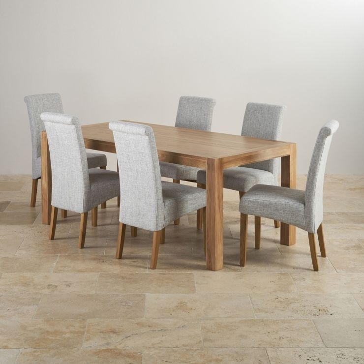 Alto Solid Oak 6Ft Dining Table With 6 Grey Fabric Chairs Pertaining To Dining Tables With Grey Chairs (Image 1 of 25)