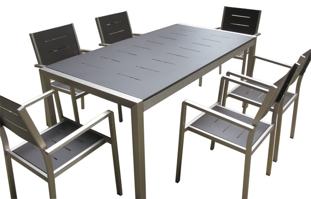 Aluminum 7 Piece Square Dining Table And Chairs Set – Contemporary Within Outdoor Dining Table And Chairs Sets (View 15 of 25)