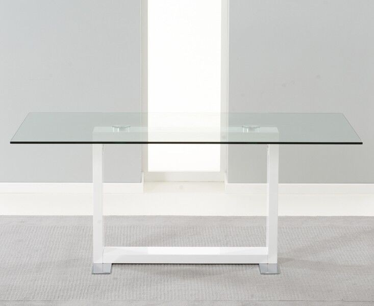 Amara Clear Glass And White Gloss Dining Table Inside Glass And White Gloss Dining Tables (Image 2 of 25)