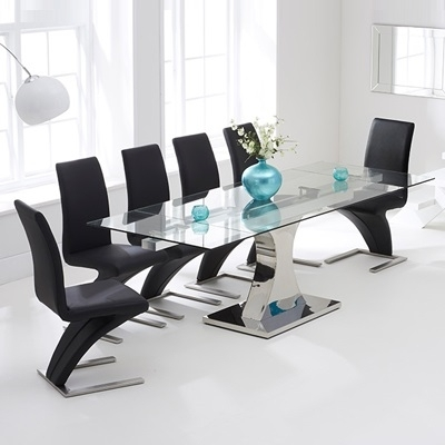 Ambrose Glass Extending Dining Table With 10 Harvey Black Airs Throughout Harvey Dining Tables (Image 3 of 25)