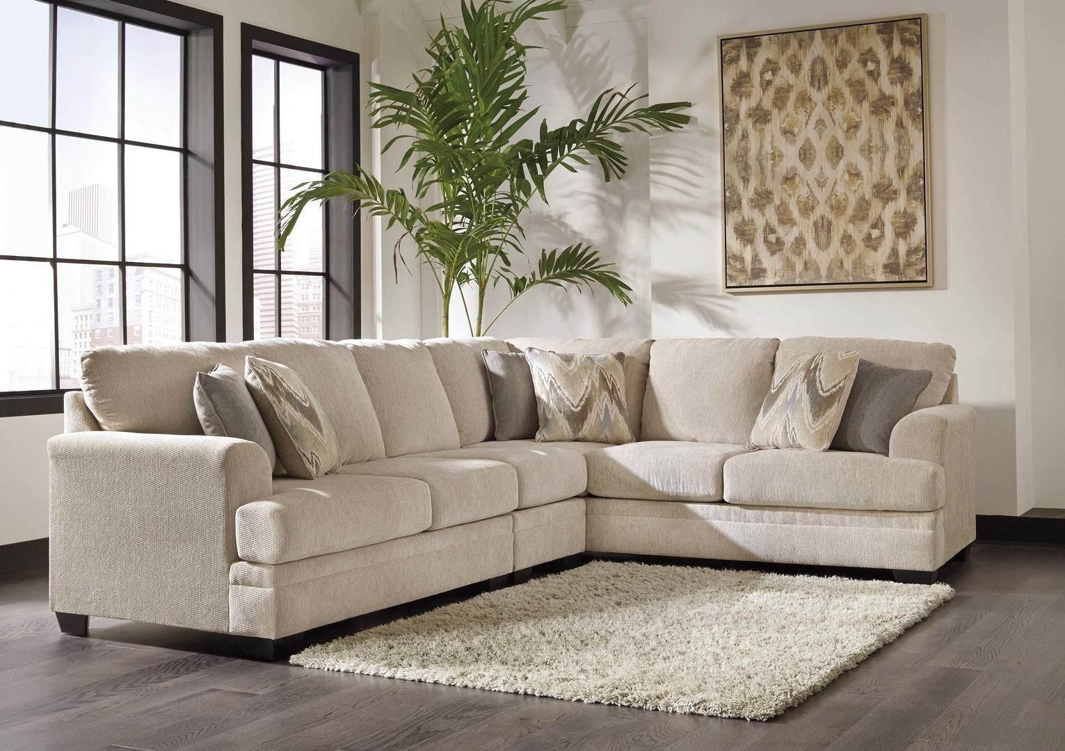 Ameer 81806 55 46 67 3 Piece Fabric Sectional Sofa With Left Arm Within Malbry Point 3 Piece Sectionals With Laf Chaise (Image 10 of 25)