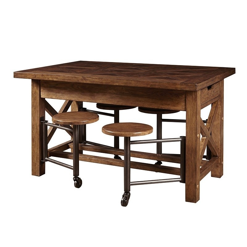 American Attitude Gathering Table W/ Attached Stools – Dining Room Regarding Dining Tables With Attached Stools (Image 1 of 25)