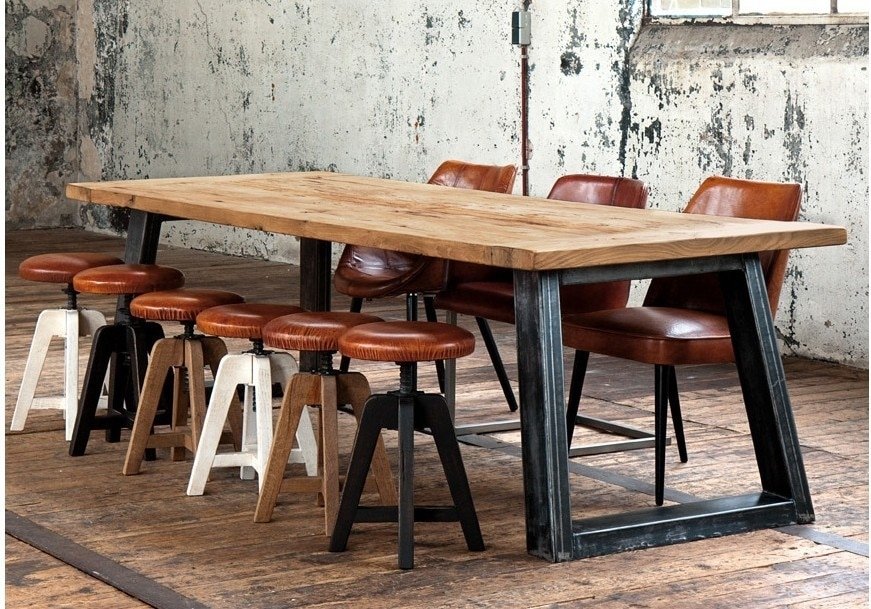 American Country Style Retro Industrial Design To Do The Old Wrought Pertaining To Iron And Wood Dining Tables (Image 3 of 25)