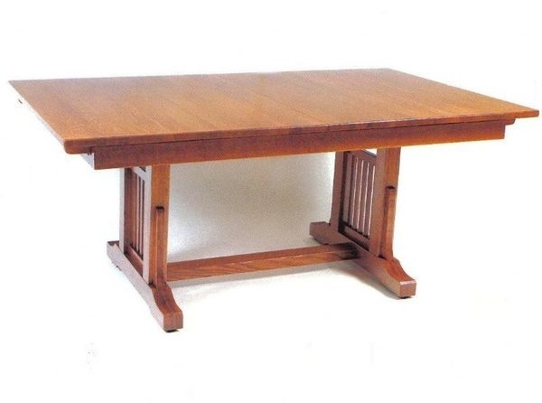 American Craftsman Trestle Table From Dutchcrafters Amish Furniture For Craftsman Rectangle Extension Dining Tables (Image 3 of 25)