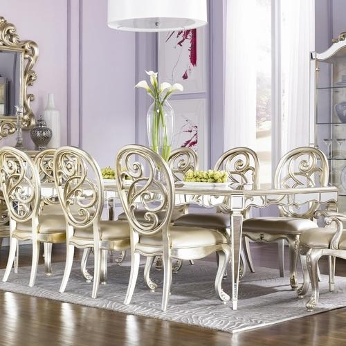 American Drew Jessica Mcclintock Couture Mirrored Leg Dining Table With Regard To Mirrored Dining Tables (View 17 of 25)