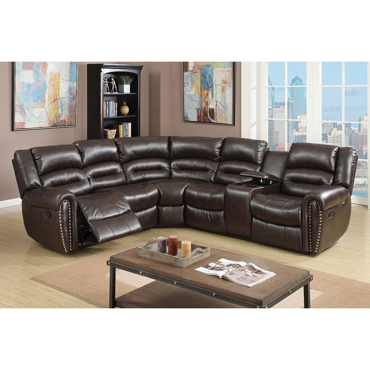 American Eagle Furniture Ek Lb309 Dc Dark Chocolate Sofa C Throughout Tenny Dark Grey 2 Piece Right Facing Chaise Sectionals With 2 Headrest (Image 5 of 25)
