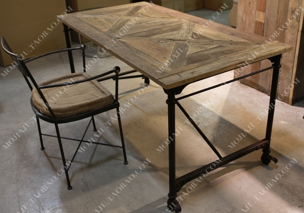 American French European Industry To Do The Old Style Wrought Iron For Parquet Dining Tables (View 15 of 25)