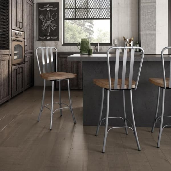 Amisco Bond Swivel Metal Counter Stool With Distressed Wood Seat Inside Laurent 7 Piece Counter Sets With Upholstered Counterstools (Image 6 of 25)