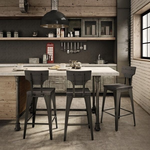 Amisco Station Metal And Wood Counter Stool | Overstock Shopping Intended For Laurent 7 Piece Counter Sets With Wood Counterstools (Image 2 of 25)