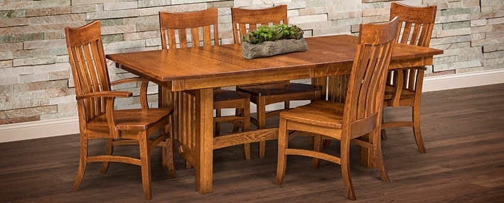 Amish Dining Room Tables & Chairs Sets – Mission Style | Cabinfield Inside Craftsman 7 Piece Rectangle Extension Dining Sets With Uph Side Chairs (Image 3 of 25)