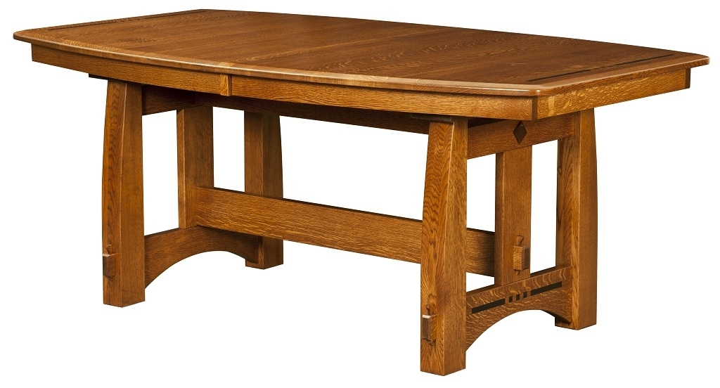 Amish Mission Craftsman Trestle Dining Table Solid Wood Rectangle Within Craftsman Rectangle Extension Dining Tables (View 7 of 25)