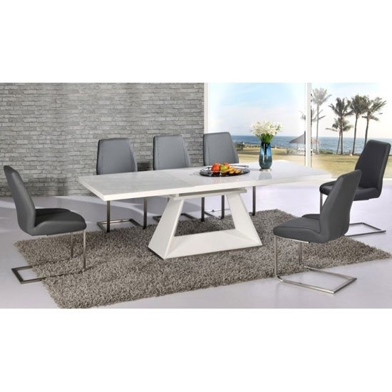 Amsterdam Extending Glass And White Gloss Dining Table Set For Glass And White Gloss Dining Tables (Image 3 of 25)