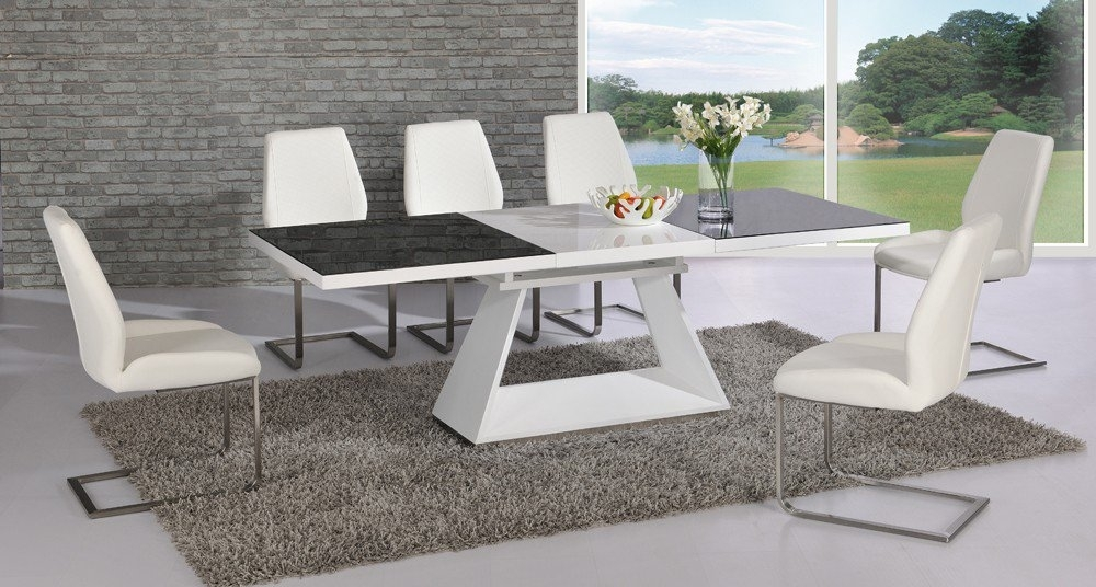 Amsterdam Glass And Gloss Extending White And Black Dining Regarding Glass Extendable Dining Tables And 6 Chairs (Image 2 of 25)