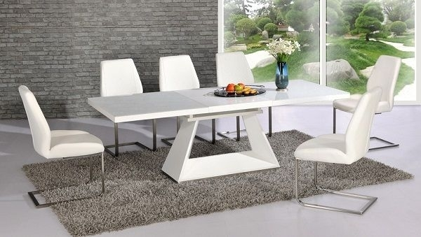 Amsterdam White Glass And Gloss Extending Dining Table 6 Chairs Regarding Extendable Glass Dining Tables And 6 Chairs (View 11 of 25)