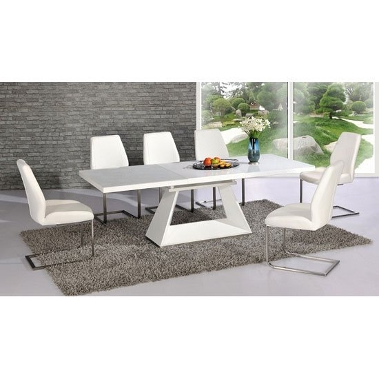 Amsterdam White Glass And Gloss Extending Dining Table 6 With White Dining Tables With 6 Chairs (Image 2 of 25)