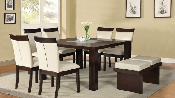 Amusing Square Dining Table Of Dark Wood Glass Legs Seats 6 8 Within Dark Wood Square Dining Tables (Image 6 of 25)