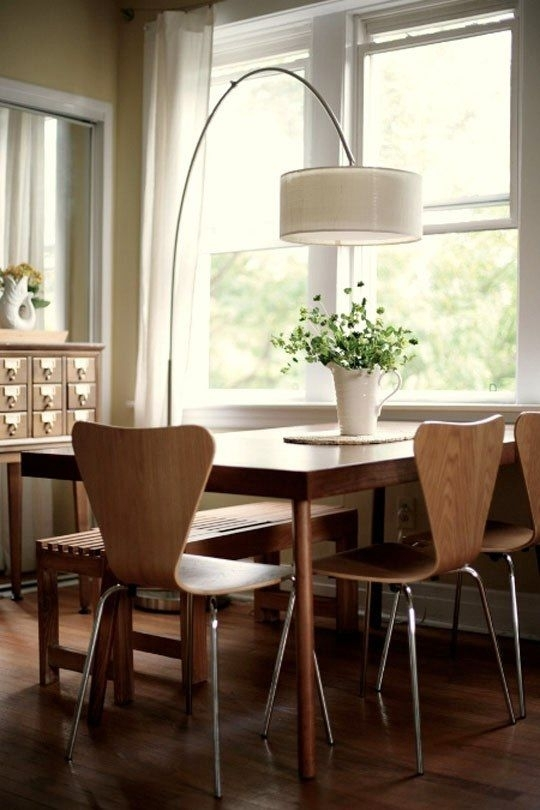 An Arc Lamp Illuminates The Dining Table | Dreamy Home | Pinterest For Lamp Over Dining Tables (Image 6 of 25)