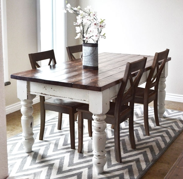 Ana White | Husky Farmhouse Table – Diy Projects Within Dining Tables With White Legs (View 4 of 25)