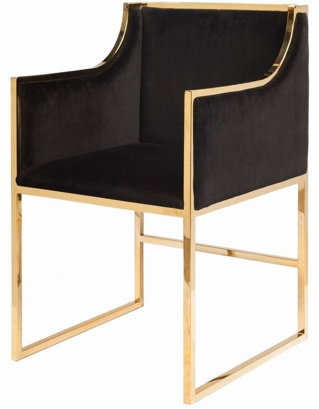 Anabelle Brass And Black Velvet Dining Chair Within Velvet Dining Chairs (Image 2 of 25)