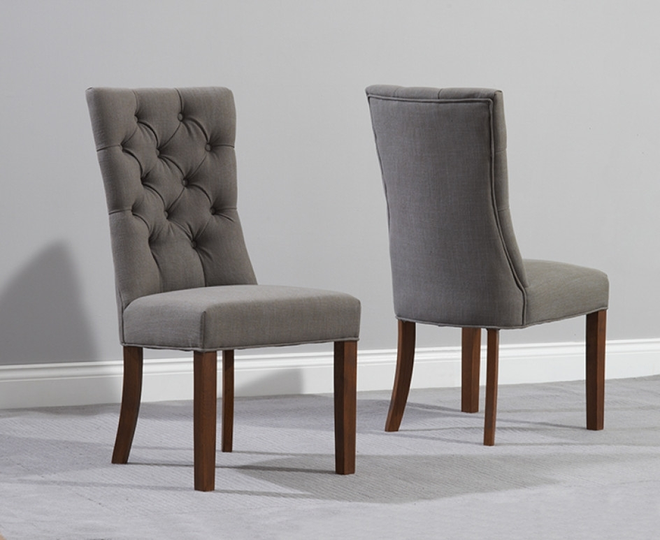 Anais Grey Fabric Dark Oak Leg Dining Chairs | The Great Furniture Within Oak Fabric Dining Chairs (Image 1 of 25)
