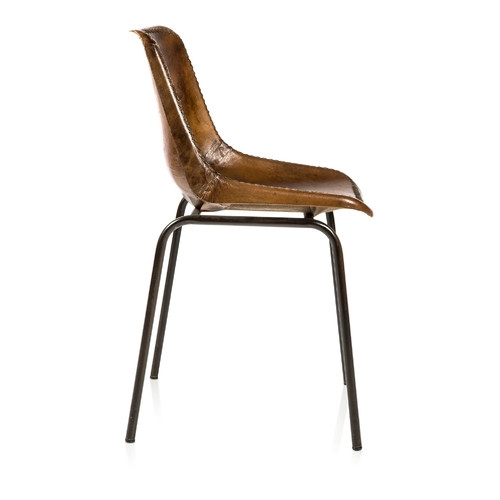 Andiez Brown Leather Dining Chair | Temple & Webster With Brown Leather Dining Chairs (Image 2 of 25)