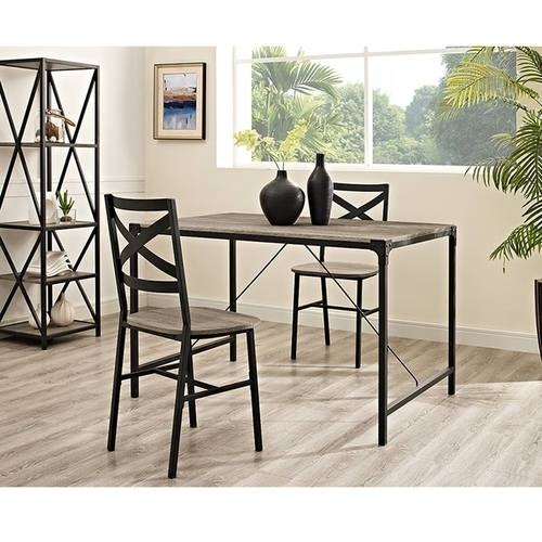 Angle Iron 48 Inch Wood Dining Table – Driftwoodwalker Edison With Regard To Iron And Wood Dining Tables (Image 4 of 25)