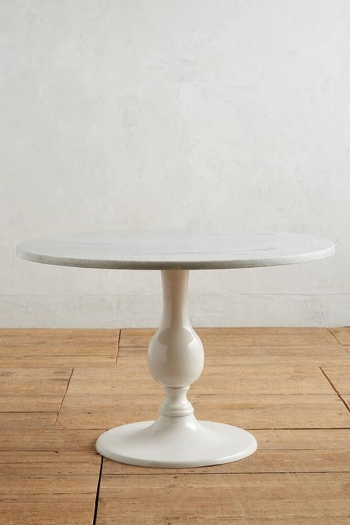 Annaway Round White Marble Dining Table With Round White Dining Tables (Image 3 of 25)