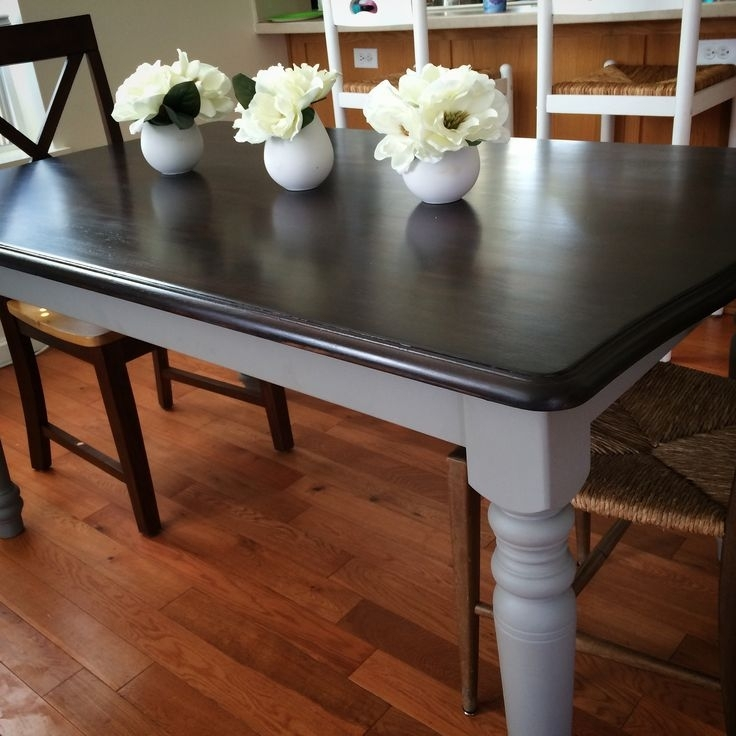 Annie Sloan Chalk Paint French Linen And Java Stain Over An Old With Regard To Washed Old Oak & Waxed Black Legs Bar Tables (Image 5 of 25)
