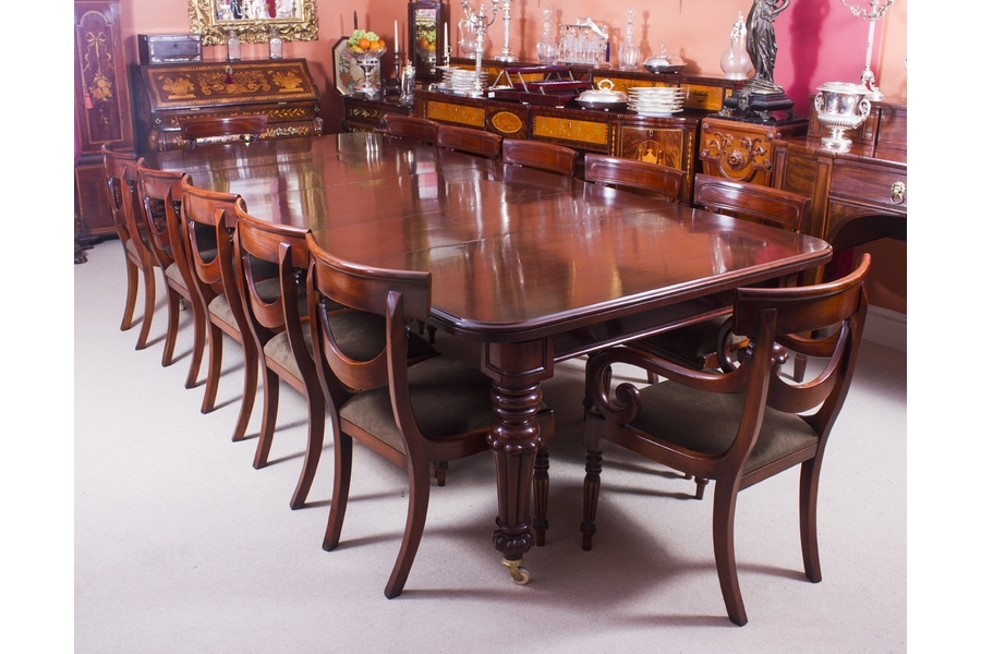 Antique 10 Ft Flame Mahogany Extending Dining Table C1840 & 12 Throughout Mahogany Extending Dining Tables And Chairs (Image 3 of 25)