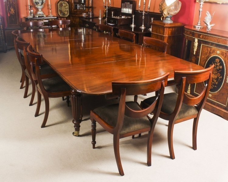 Antique 11 Ft Flame Mahogany Extending Dining Table C1840 & 10 With Regard To Mahogany Extending Dining Tables And Chairs (Image 4 of 25)