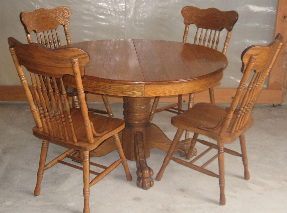 Antique 47 Inch Round Oak Pedestal Claw Foot Dining Room Table With Inside Round Oak Dining Tables And Chairs (View 3 of 25)
