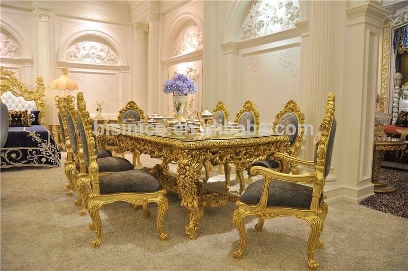Antique Carved Dining Table Set,gorgeous Luxury Glass Top Dining For Royal Dining Tables (View 7 of 25)