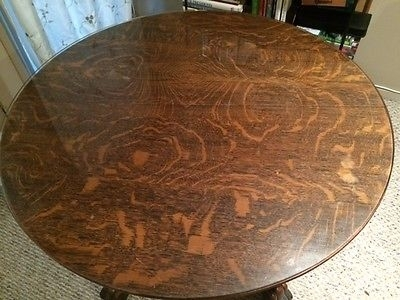 "Antique Claw Foot Tiger Oak Dining Table With Glass Top – 40"" Round Throughout Glass Top Oak Dining Tables (Image 2 of 25)"