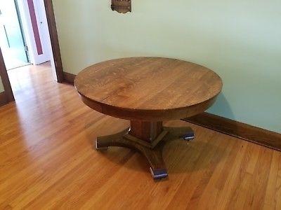 Antique Craftsman / Mission / Arts & Crafts Round Dining Table Throughout Craftsman Round Dining Tables (Image 2 of 25)