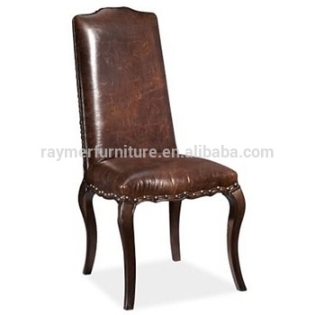 Antique Dark Brown Leather Upholstered Restaurant Dining Chair – Buy With Dark Brown Leather Dining Chairs (Image 2 of 25)