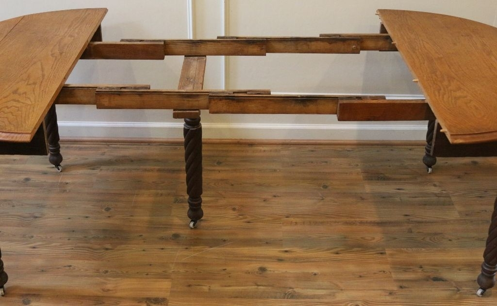 Antique Dining Table, American Oak Round Drop Leaf Extending (Image 2 of 25)