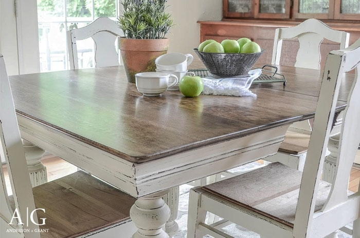 Antique Dining Table Updated With Chalk Paint   Anderson + Grant For Painted Dining Tables (Image 2 of 25)