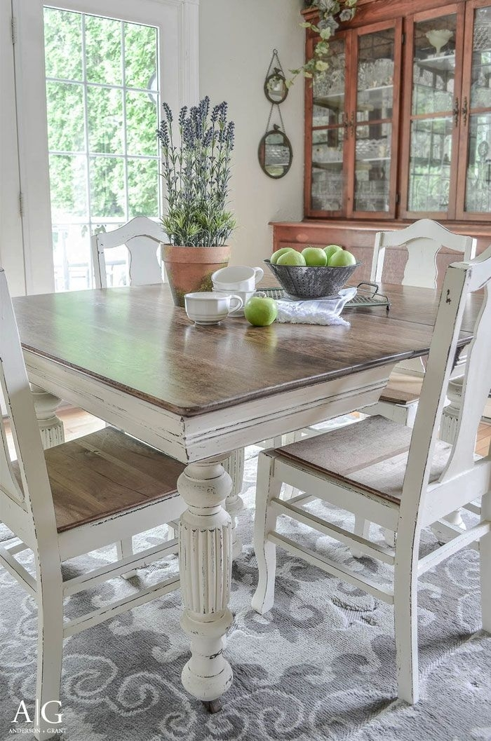 Antique Dining Table Updated With Chalk Paint | Anderson + Grant Inside Washed Old Oak & Waxed Black Legs Bar Tables (Image 6 of 25)
