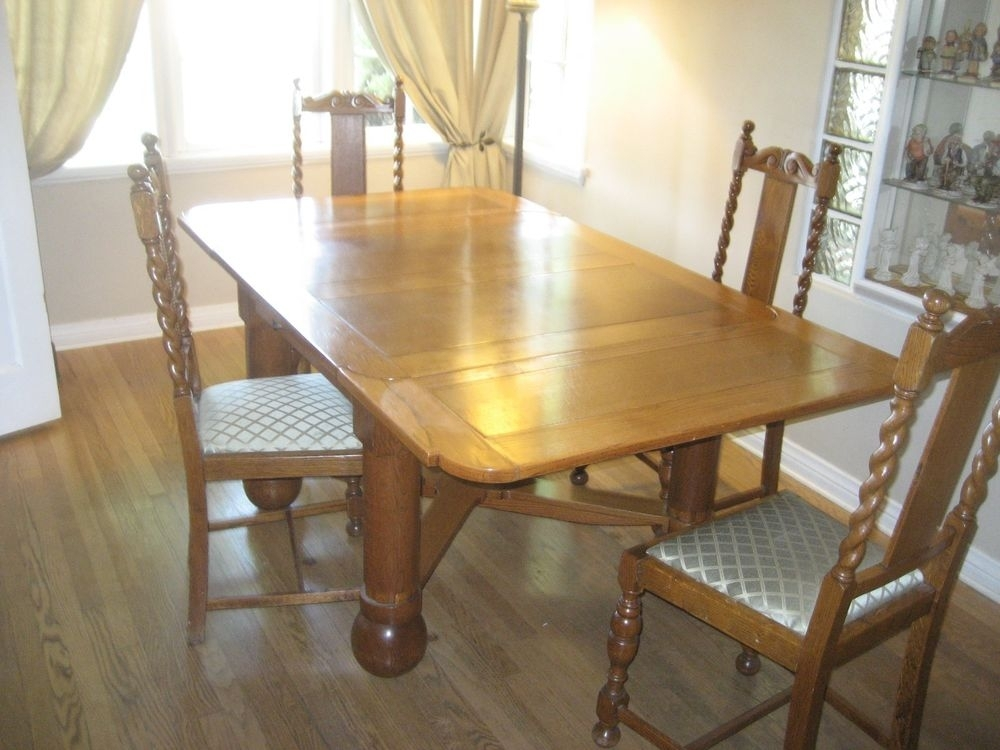 Antique Draw Leaf Dining Table And Chairs | Ebay Regarding Helms Round Dining Tables (View 14 of 25)