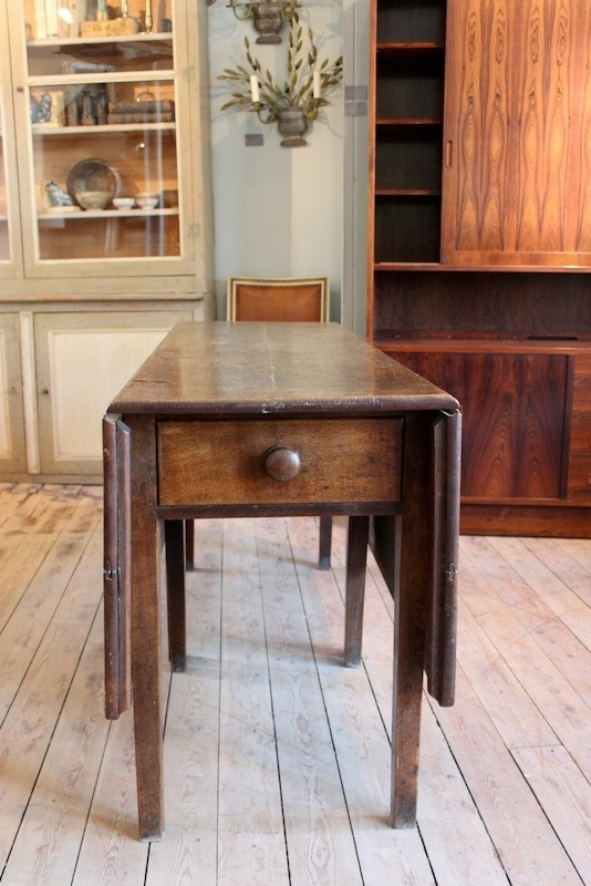 Antique English Georgian Oak Folding Dining Table – Dining Tables Throughout Folding Dining Tables (Image 2 of 25)