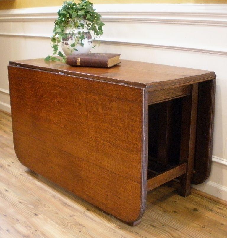 Antique Folding Table   Large Antique English Oak Drop Leaf Gate Leg In Large Folding Dining Tables (Image 3 of 25)