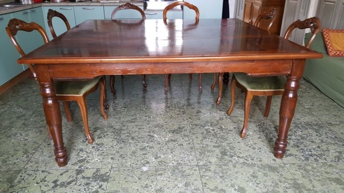 Antique Large Dining Table In Walnut And Mahogany – Italy, Lazio Throughout Lazio Dining Tables (Image 2 of 25)
