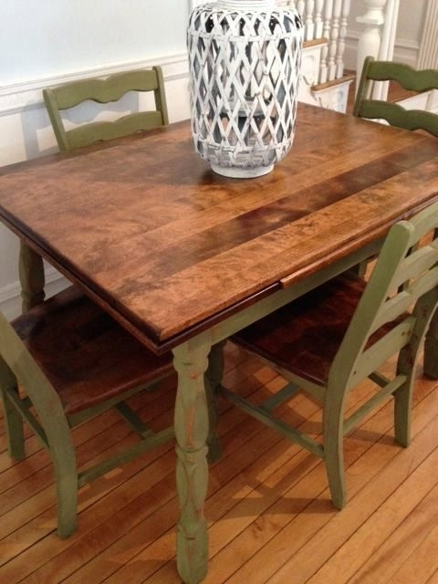 Antique Maple Dining Table And Chairs Refinished In Green Milk Paint Throughout Green Dining Tables (Photo 23 of 25)