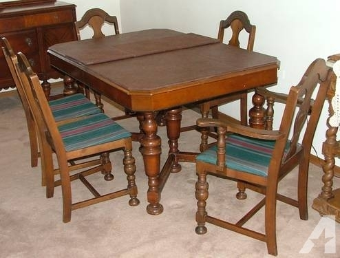 Antique Penn Table Company Walnut Dining Table And Chairs For Sale Intended For Walnut Dining Tables And Chairs (Image 3 of 25)