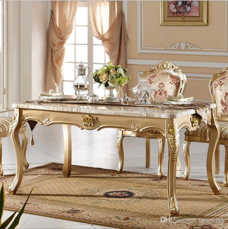 Antique Style Italian Dining Table, 100% Solid Wood Italy Style Intended For Marble Dining Tables Sets (Image 4 of 25)