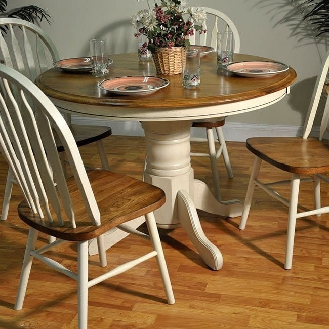 Antique White And Oak Round Dining Table – Dining Room And Kitchen Throughout Oak Round Dining Tables And Chairs (Image 2 of 25)