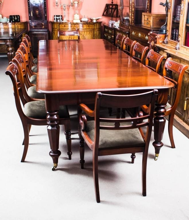 Antique William Iv Mahogany Extending Dining Table And 12 Chairs At Within Mahogany Extending Dining Tables (Image 7 of 25)